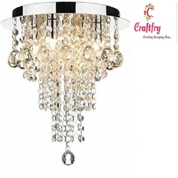 antique Crystal Chandelier Beads ceiling light with glowing Raindrops