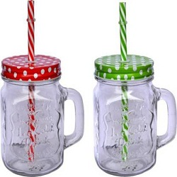 Buy Glass Mason Jar with straw and handle pack of 2 (400 ml) Craftfry.com.