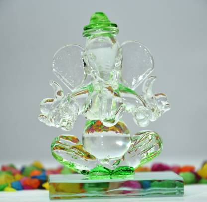 crystal double faced ganesha idol figure statue light green