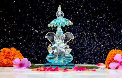 Blue Chhatri Ganesha Idols For Home Decor 6cm